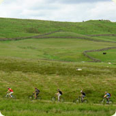 Five riders traveling around Kentmere